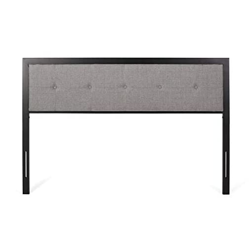 Bedroom Thera Modern Industrial Tufted Upholstered Queen Headboard, Gray and Flat Black modern headboards