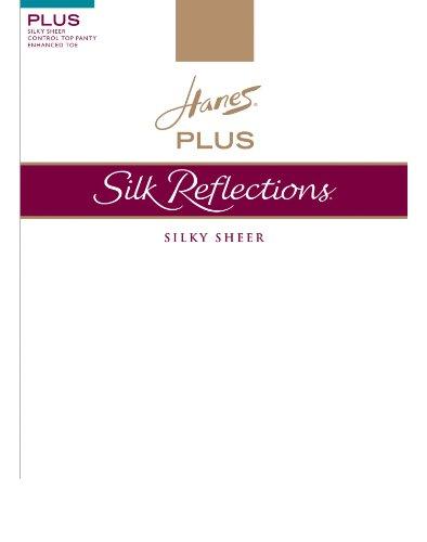 (Hanes Silk Reflections Women`s Plus Sheer Control Top Enhanced Toe Pantyhose)