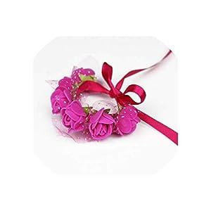 alerghrg Red Pink Blue Purple Orange Green Wrist Flower Wedding Bride Corsage Hand Decorative Wristband Bracelet Bridesmaid Hand Flower,12 Fuchsia 12