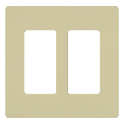 (Lutron Claro 2 Gang Decorator Wallplate, CW-2-IV, Ivory)