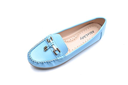 Mila Lady Fashion Colorful Causal Slip on Loafers Moccasin Walking Driving Indoor Flat Shoes for Women, Allison Blue Size 11
