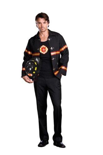 Fireman Halloween Costume Man (Dreamgirl Men's Smoking Hot Fireman Costume, Black/Red, XX-Large)