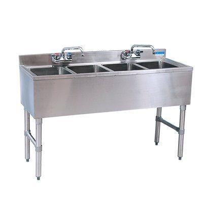 BK Resources Slim-Line Underbar Sink 4 Compartment Stainless Steel 48''W x 18-1/4''D x 32-1/2''H