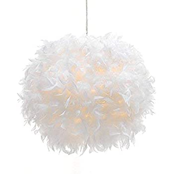 Waneway White Feather Ceiling Pendant Light Shade, Non-Electrical Lampshade for Floor Lamp and Table Lamp with Shade Reducing Ring for Living Room, ...