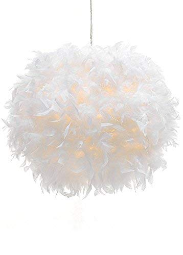 Waneway White Feather Ceiling Pendant Light Shade, Non-Electrical Lampshade for Floor Lamp and Table Lamp with Shade Reducing Ring for Living Room, Dining Room, and Bedroom, 11.8 inches ()