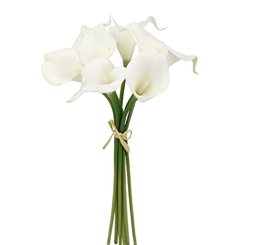 (Angel Isabella, LLC 20pc Set of Keepsake Artificial Real Touch Calla Lily with Small Bloom Perfect for Making Bouquet, Boutonniere,Corsage (White))