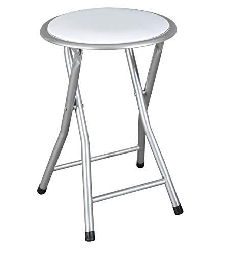 thesecrethome.es Taburete Plegable Acolchado Blanco Aluminio | (Diametro 30X45