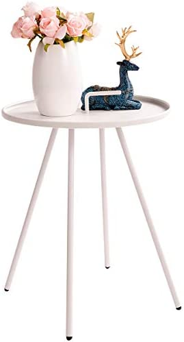 HollyHOME Convenient Patio Steel Side Table with Handle, Accent Small Coffee Snack Table, Round Metal End Table for Outdoor or Indoor Use, H 19.50 x D 16.38 , White