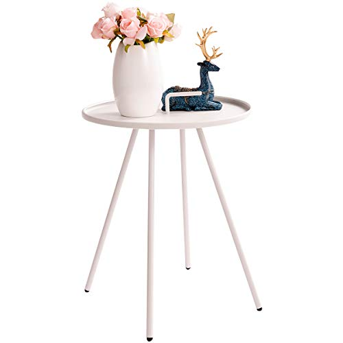 (HollyHOME Convenient Patio Steel Side Table with Handle, Accent Small Coffee/Snack Table, Round Metal End Table for Outdoor or Indoor Use, (H) 19.50