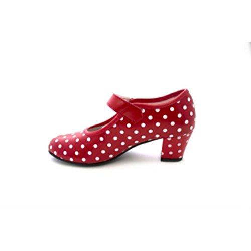 Siviglia Flamenco scarpe danza pois bianco per le ragazze o le donne Danka rosso