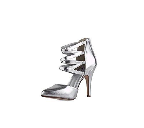 MyDelicious Delicious Women's Wish Pointy Toe Cutout Criss Cross Cage Sandal Stiletto Heel Pump Shoe (8, (Criss Cross Sandal Pump)