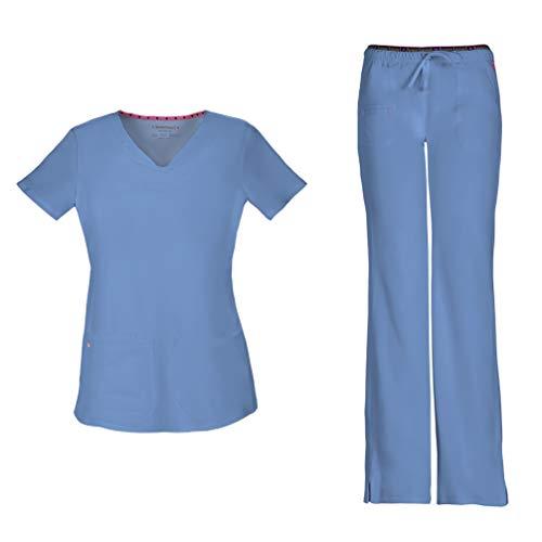 (HeartSoul Women's Pitter-Pat Shaped V-Neck Scrub Top 20710 & Heartbreaker Heart Soul Drawstring Scrub Pants 20110 Medical Scrub Set (Ciel - X-Large/XXL Tall))