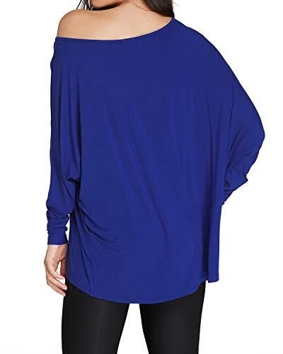 Uni Confortablents Bleu Manches Vtements Longues Kenoce Ample Chemise et Rond Femme Top col RRfqHI