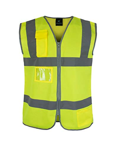Kolossus Premium Hi-Vis Safety Vest | Frontal Pockets | Cool Dry Mesh Back | Anti-Static Zipper | ANSI Class 2 Compliant (Yellow, Small)