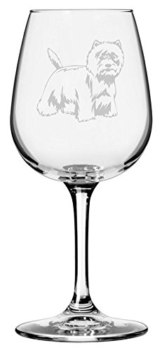 West Highland White Terrier (Westie) Dog Themed Etched 12.75oz Libbey Wine -
