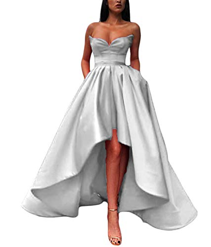 (XIA Women's Strapless Prom Dress High-Low Satin Formal Evening Ball Gowns with Pockets White)