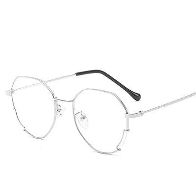 FeliciaJuan Adult Glasses Irregular Metal Shell Blue Glass Frame General Computer Goggles Men and Women