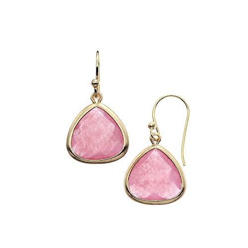- 18K Gold Plated Rose Aventurine Wire Tear Drop Earrings