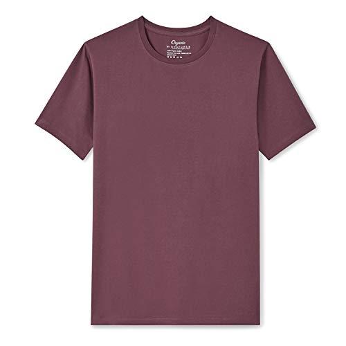 Organic Signatures Men's Short-Sleeve Crewneck Cotton T-Shirt (Medium, Burgundy)