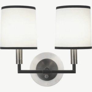 Robert Abbey D2137 Sconces with Ascot White Fabric Shades, Blackened Antique Nickel/Matte Black Accents Finish