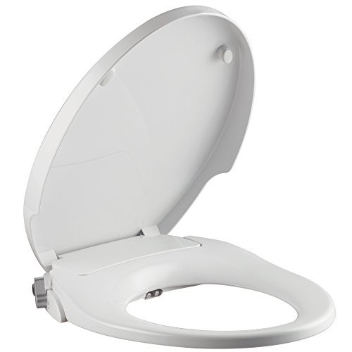 ParKoo Non-Electric Bidet Toilet Seat Elongated, Dual Manual Cleaning Nozzles Sleek Style, Adjustable Water Pressure, Ergonomically Designed