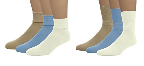 (EMEM Apparel Boys Girls Kids Children's Soft Bamboo Cotton Crew or Turn Cuff Triple Roll School Uniform Socks 3-Pack Khaki/Sky Blue/Ivory 6 )