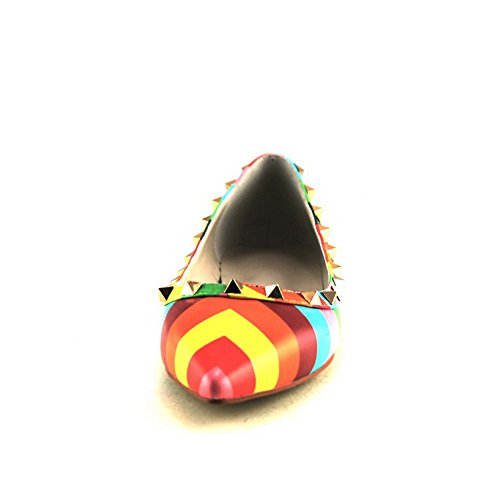 No Pointed Womens Flats Toe Heel Closed Assorted Leather Cow Iridescence with Multicoloured AllhqFashion Colors 5g4wqY15