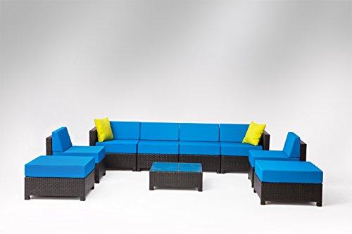 9 pcs Luxury Wicker Patio Sectional Indoor Outdoor Sofa Furniture set Drak Blue