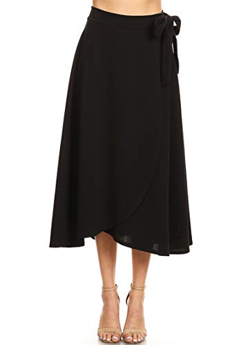 Solid Basic Faux Wrap Casual Loose Fit Elastic Waist Skirt/Made in USA Black S