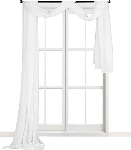 Utopia Bedding Premium White Sheer Window Scarf Valance - Window Scarfs for Living Room - White Luxurious - 54 by 216 Inches