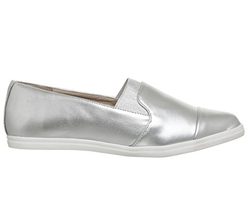 Office Fugi Elasticated Slip On Flats Silver Metallic OtbBreGekb