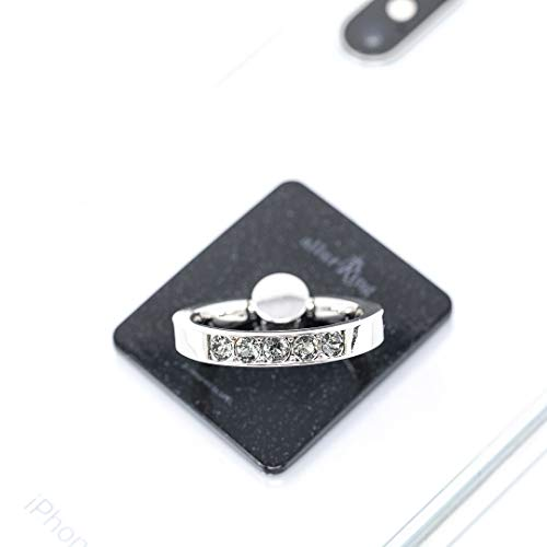 AllurRing Cell Phone Ring Holder - Charlotte Crystal Smartphone Stand w/ 360 Rotation Finger Grip Kickstand, Black Pearl