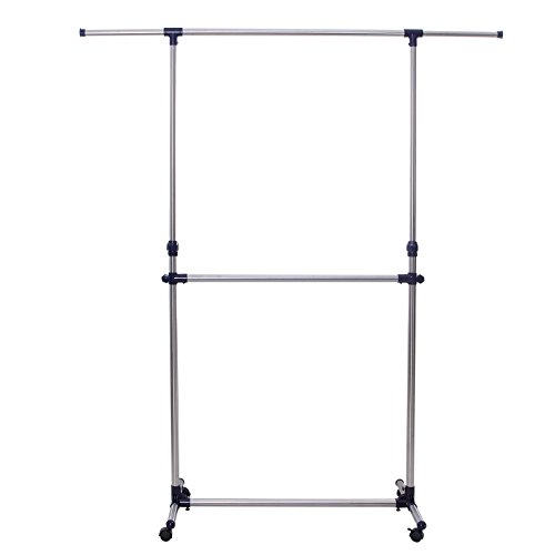 Adjustable Garment (SONGMICS Adjustable Double Rods Garment Rack Rolling Hanging Clothes Racks with Brake Wheels)
