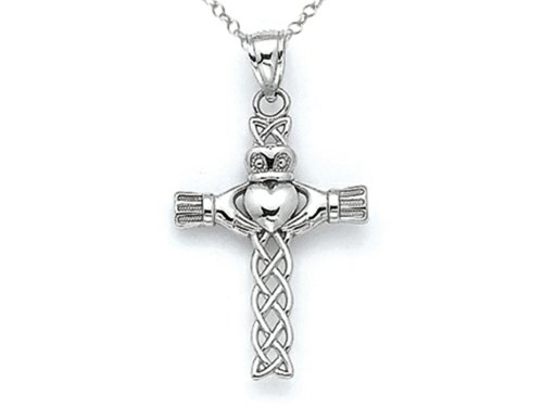 Celtic Gold Cross Claddagh (Finejewelers 14k White Gold Claddagh Celtic Cross Pendant Necklace Chain Included)