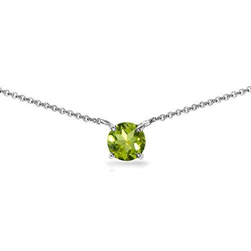 Sterling Silver Peridot 7mm Round-cut Dainty Choker Necklace