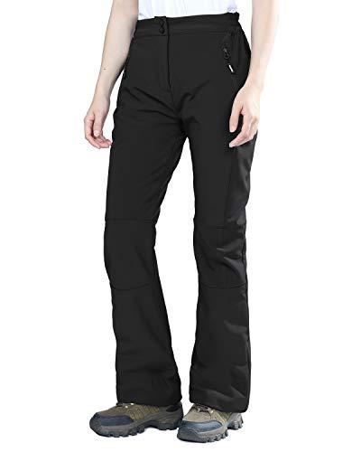 Outdoor Ventures Women's Sleek Waterproof Softshell Fleece Lined Ski Snow Insulated Pants with Bottom Zipper