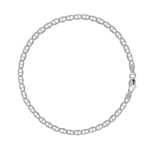 Ritastephens Sterling Silver Mariner Link Foot Chain Anklet 4 mm 10 Inches ()