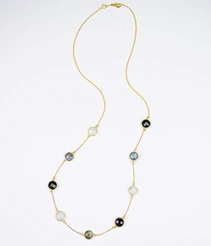 - Custom long station necklace, Black Onyx, Moonstone and Labradorite necklace, gemstone necklace, white black necklace, grey necklace rainbow