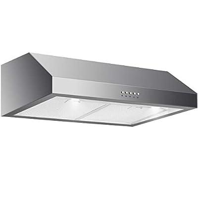 "Stainless Steel 29.5"" Under Cabinet Kitchen Range Hood w/LED Light & Aluminum Mesh with Ebook"