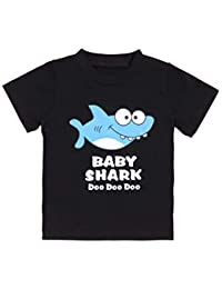 Newborn Baby Shark Song Doo Doo Doo Cute Short Sleeve Clothes for Boy Girl Infant Kids T-Shirt Black