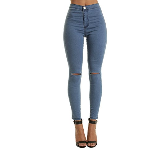 FuweiEncore Jeans Skinny Jeans Zip Jeans Jeans Jeans Skinny Jeans avec des Trous Bleu