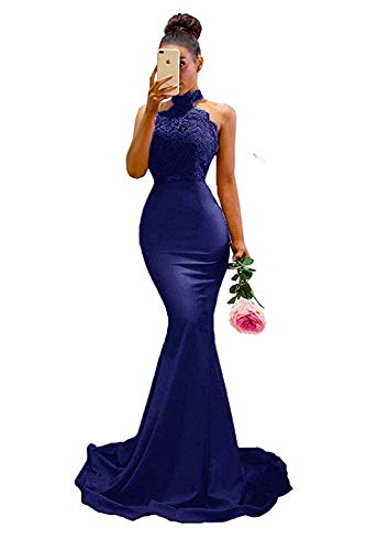Mermaid Prom Dresses 2019 Backless Navy Blue Lace Bridesmaid Evening Gowns for Weddings Halter High Neck