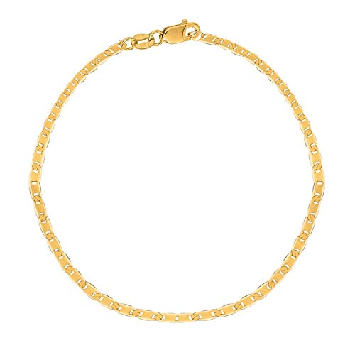 MCS Jewelry 10 Karat Solid Yellow Gold Mariner Link Anklet, (10