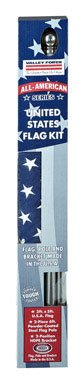 Valley Forge Flag All-American Series 3 x 5 Foot Nylon US American Flag Kit with 6-Foot Powder-Coated Steel Pole and Bracket - SSTINT-AM6 by Valley Forge