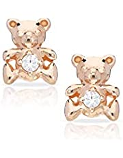 BLING BIJOUX Cute Rose Gold-Plated Teddy Bear Earrings Never Rust 925 Sterling Silver Natural and Hypoallergenic Studs For Girls with Free Breathtaking Gift Box for Special Moments of Love