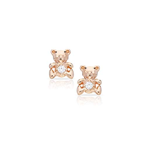 Loving Caring Cute & Gentle Rose Teddy Bear Earrings Never Rust 925 Sterling Silver Natural and Hypoallergenic Studs For Women, Girls & Kids with Free Breathtaking Gift Box for Special Moments of Love