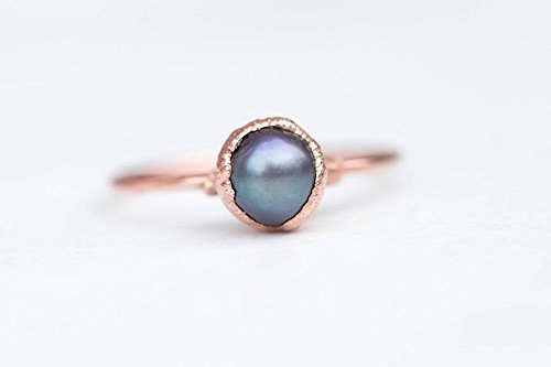 Rose Gold Raw Black Pearl Ring, Size 7, Artisan Jewelry
