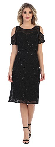 Love My Seamless Off Shoulders Womens Short Mother Of The Bride Evening Formal Lace Dress With Jacket (Black, Large)