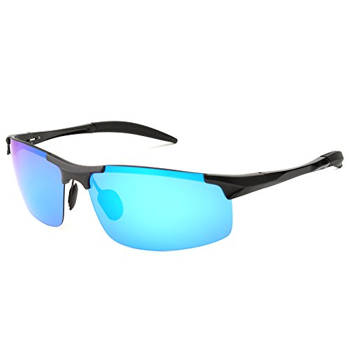 MOTELAN Men's Polarized Sunglasses for Driving Fishing Golf Metal Glasses UV400 Blue