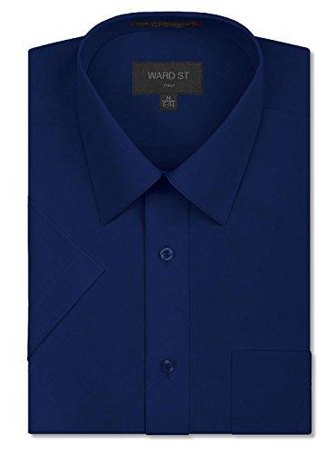(Ward St Men's Regular Fit Short Sleeve Dress Shirts, 4XL, 20-20.5N, Navy)